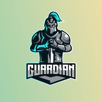 Design del logo mascotte spartano per giochi, esport, youtube, streamer e twitch