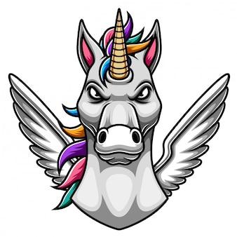 Design del logo mascotte unicorno