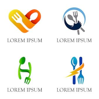 Design del logo pittorico cucchiaio e forchetta per ristorante e ristorante