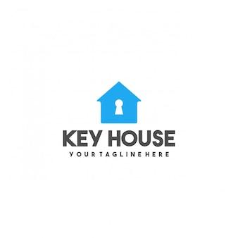 Design del logo premium casa chiave creativa