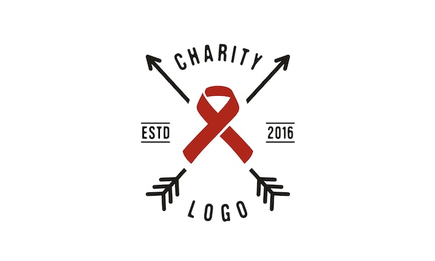 Design del logo ribbon and arrow for charity
