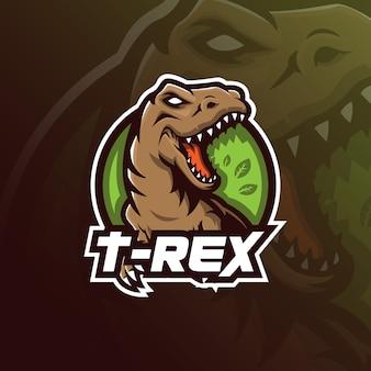 Design del logo t-rexmascot con stile di illustrazione moderno per stampa di badge, emblemi e magliette.