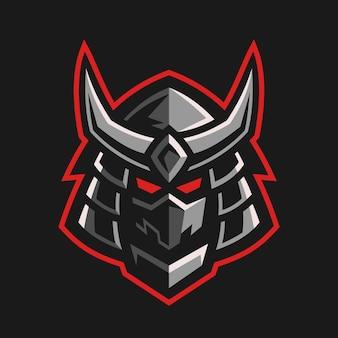 Design del logo tradizionale testa di samurai giapponese