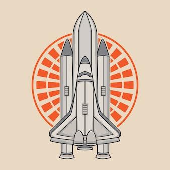 Design del logo vettoriale razzo spaziale