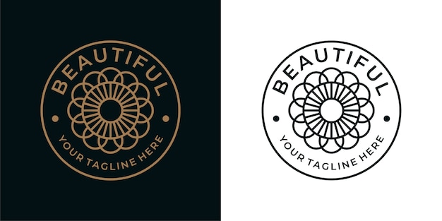 Design del logo vintage bella geometria fiore