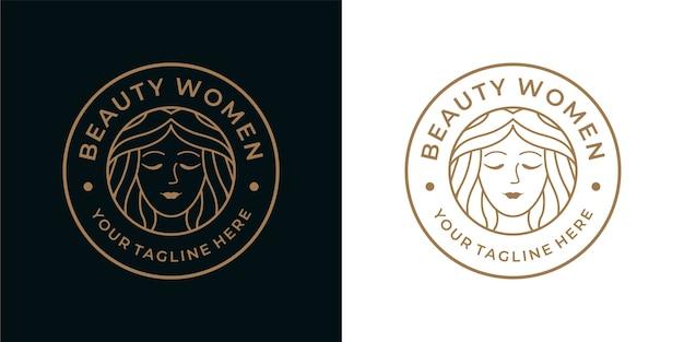 Design del logo vintage delle donne di bellezza, può essere utilizzato per spa, moda, cosmetici, logo spa