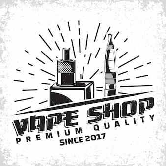Design del logo vintage vape lounge, emblema del club o della casa di vape, emblema di tipografia monocromatica, francobolli stampati con grange rimovibile facile, vettore