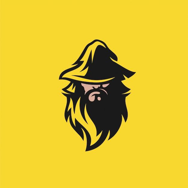 Design del logo wizard design della bottiglia di vino. illustrazione