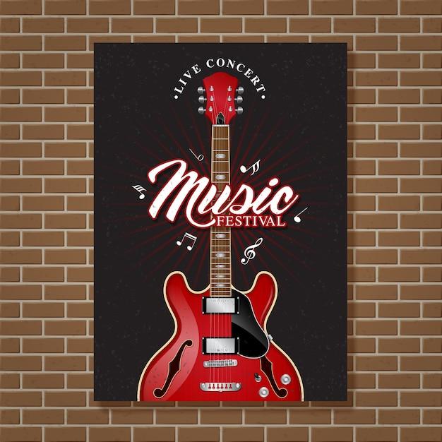 Design del manifesto del festival di musica jazz per chitarra