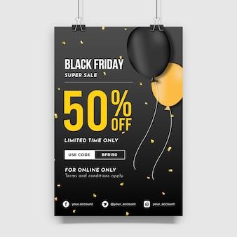 Design del manifesto di vendita del black friday con bellissimo modello di palloncino