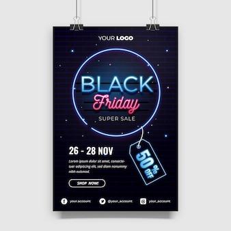 Design del manifesto di vendita del black friday con modello effetto neon