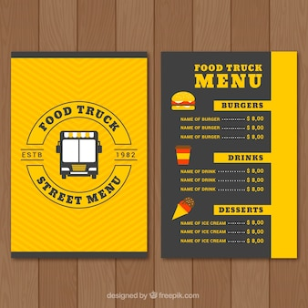 Design del menu camion cibo