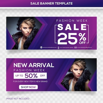 Design del modello banner di vendita di moda