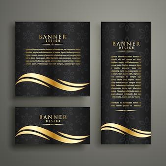 Design del modello di bandiera dorata di lusso premium