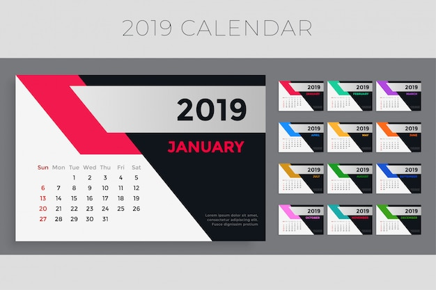 Design del modello di calendario creativo 2019