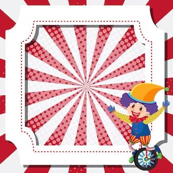 Design del modello di cornice con clown da circo