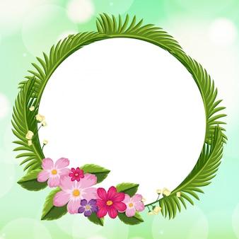 Design del modello di cornice con fiori rosa