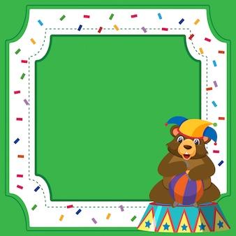 Design del modello di cornice con orso da circo e palla
