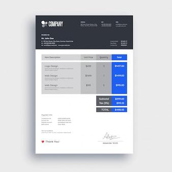 Design del modello di fattura blu e grigio per la tua azienda.