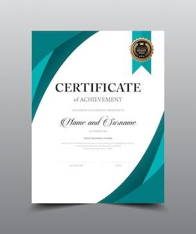 Design del modello di layout certificato. stile di lusso e moderno, illustrazione grafica vettoriale.
