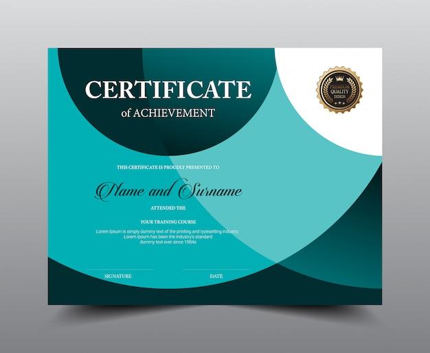 Design del modello di layout certificato. stile di lusso e moderno, opere d'arte.