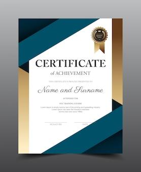 Design del modello di layout certificato, stile moderno e di lusso