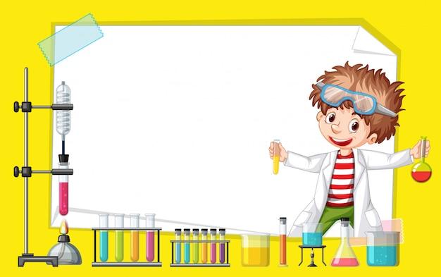 Design del modello di telaio con bambino nel laboratorio di scienze