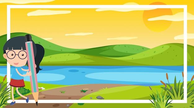 Design del modello di telaio con ragazza carina dal fiume in background