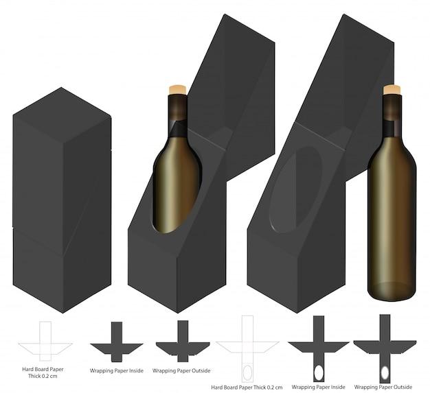 Design del modello fustellato dell'imballaggio della bottiglia di vino.