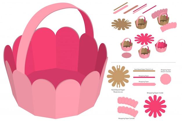 Design del modello fustellato dell'imballaggio della scatola del cestino. mock-up 3d