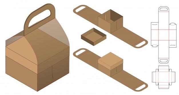 Design del modello fustellato di imballaggio della scatola. mock-up 3d