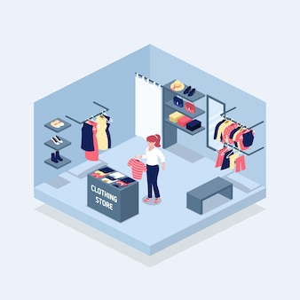 Design del negozio di abbigliamento isometrico