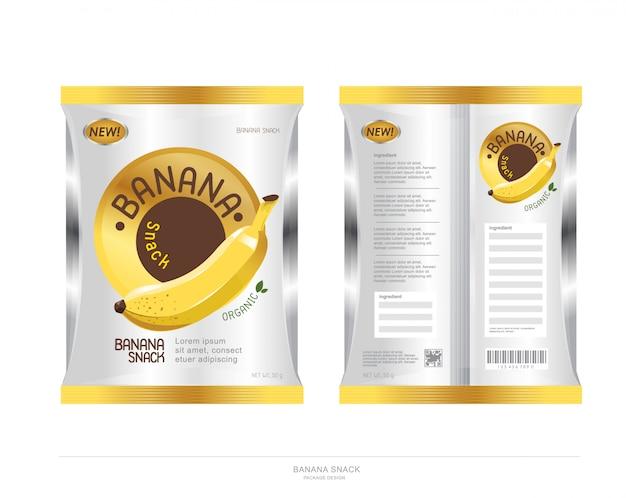 Design del pacchetto snack banana