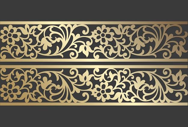 Design del pannello tagliato al laser. modello di bordo ornato vettoriale vintage per taglio laser, vetrate, incisioni su vetro, sabbiatura, sculture in legno, cardmaking, inviti di nozze.