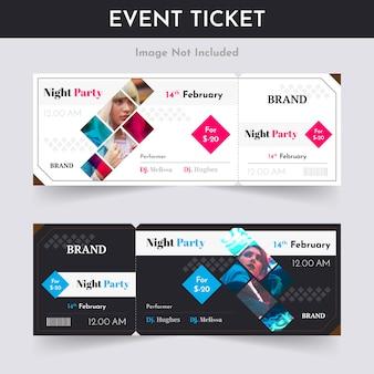 Design del pass biglietto per la festa notturna