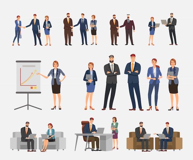 Design del personaggio aziendale. azione imposta il carattere degli affari.