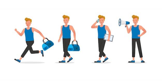 Design del personaggio di istruttore di fitness. uomo vestito con abiti sportivi.