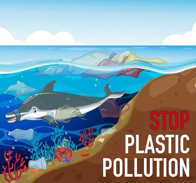 Design del poster con delfino e spazzatura nell'oceano