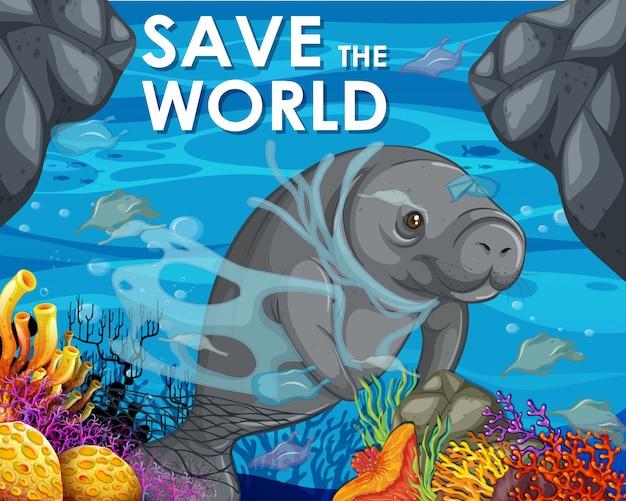 Design del poster con lamantino e sacchetti di plastica nell'oceano