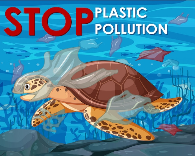 Design del poster con tartaruga marina nell'oceano