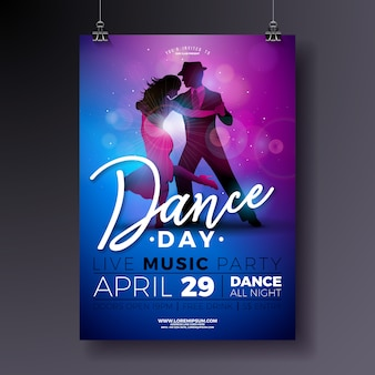 Design del poster dance day party con coppia che balla il tango