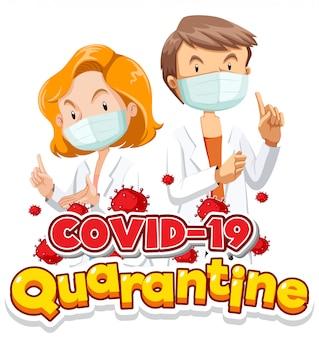 Design del poster di coronavirus con medici e cellule virus