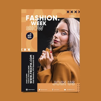 Design del poster di moda con foto di ragazza