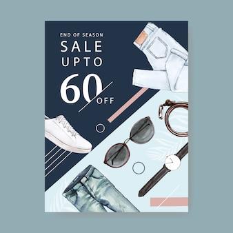 Design del poster di moda con jeans, orologio, cintura, occhiali da sole, illustrazione dell'acquerello di scarpe.