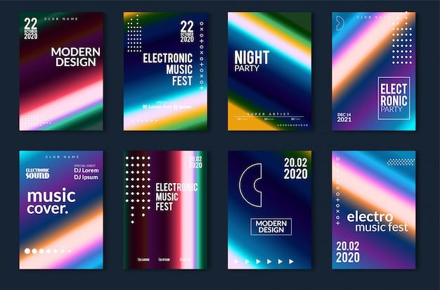 Design del poster minimal festival di musica elettronica. sfondo moderno colorato linee tratteggiate per flyer, copertina. illustrazione vettoriale