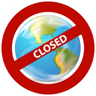 Design del poster per il tema del coronavirus con il mondo chiuso