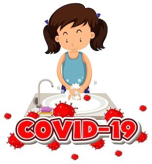 Design del poster per il tema del coronavirus con le mani di lavaggio della ragazza