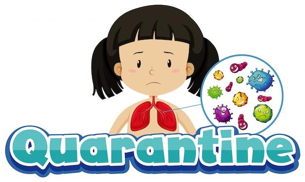 Design del poster per il tema del coronavirus con ragazza e virus nei polmoni