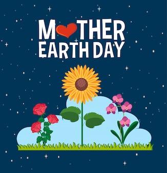 Design del poster per la festa della mamma terra con bellissimi fiori