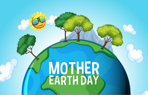 Design del poster per la giornata della madre terra con molti alberi sulla terra